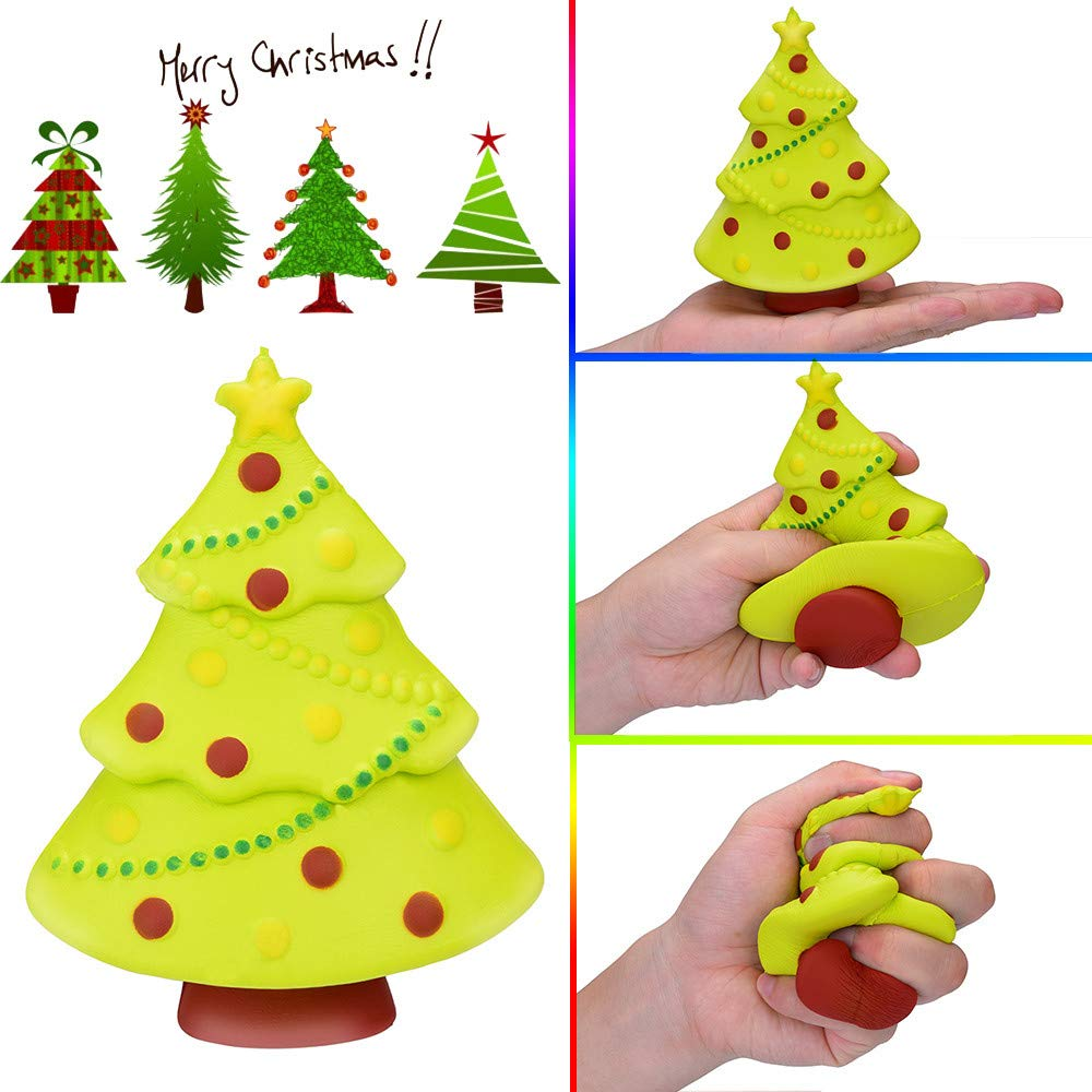 Sagton Squeeze Stress Relief Toys for Adults Kids Christmas Tree Scented Super Slow Rising Christmas Toy (Yellow)