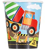Unique Party 52076-9oz Construction Party Paper Cups, Pack of 8
