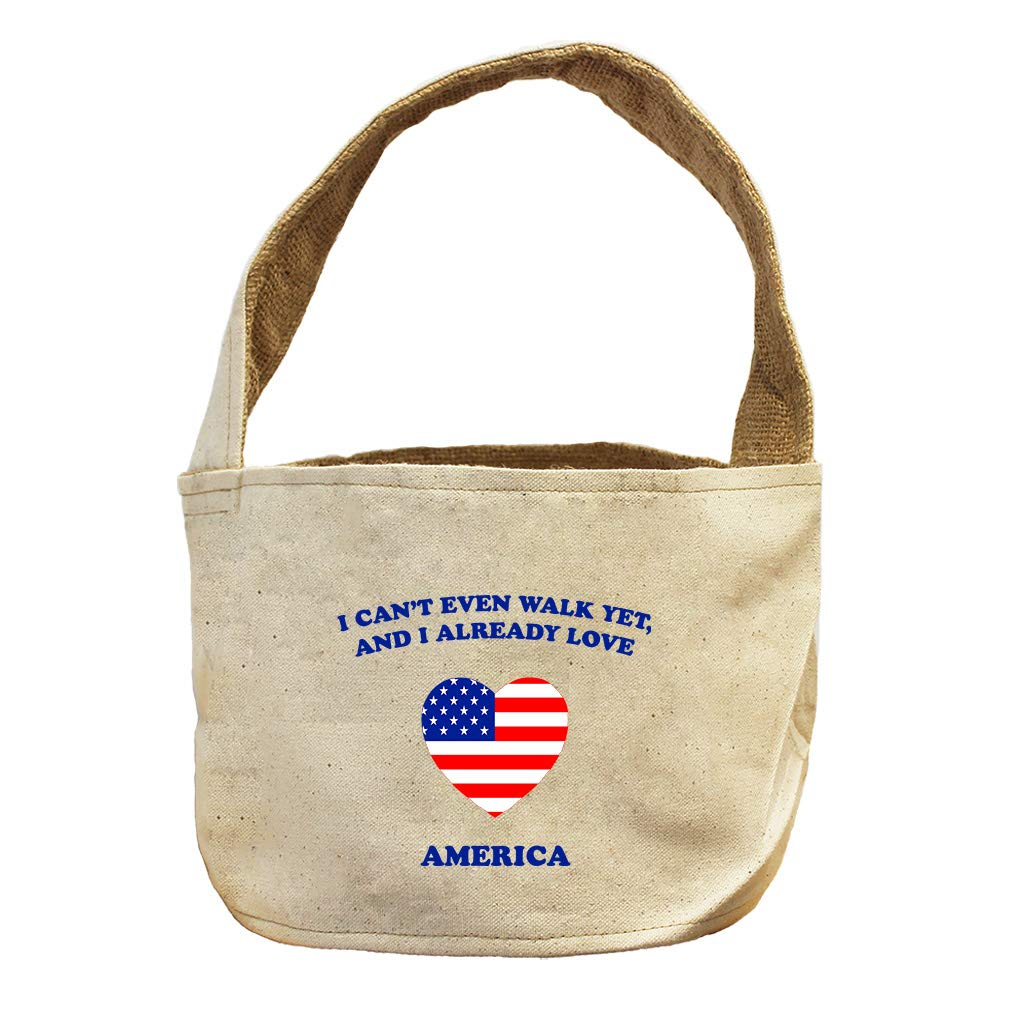 Style in Print Can't Even Walk Yet Already Love America Canvas and Burlap Storage Basket