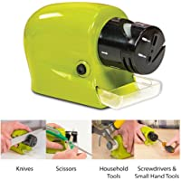 Jini Collection® Knife Sharpener Sharp Cordless Motorized Tool Blade Multi Function Sharpener for Knife-Green