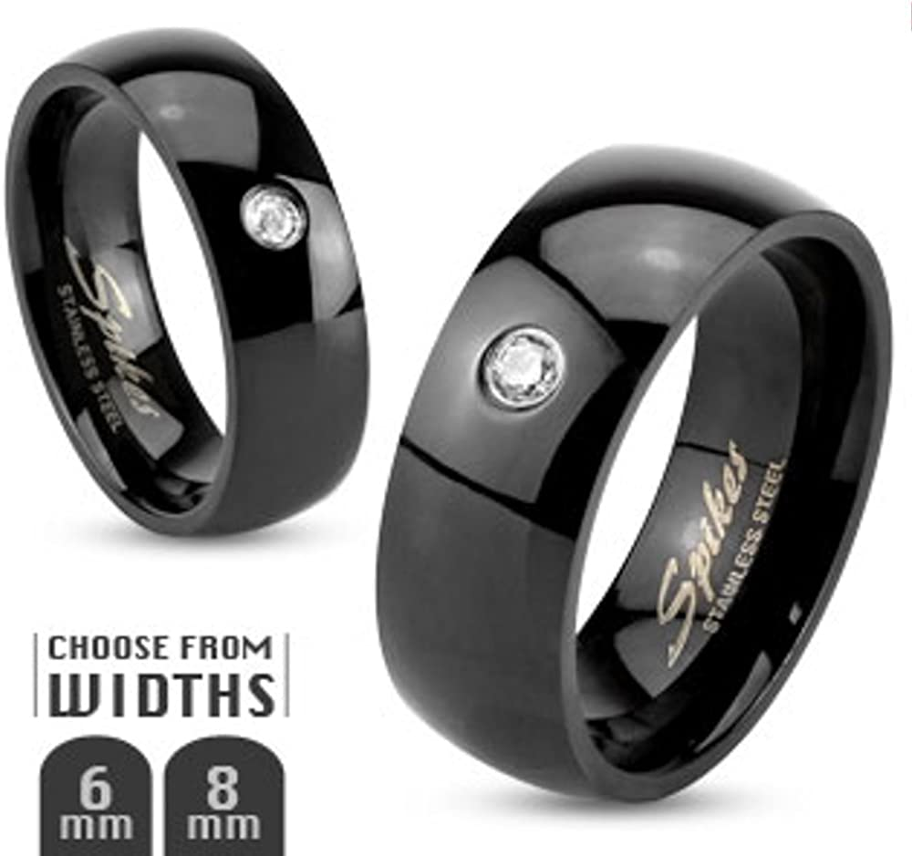 Stainless Steel 316 Black IP Cubic Zirconia Wedding Band Ring 6 or 8mm Sz 5-14