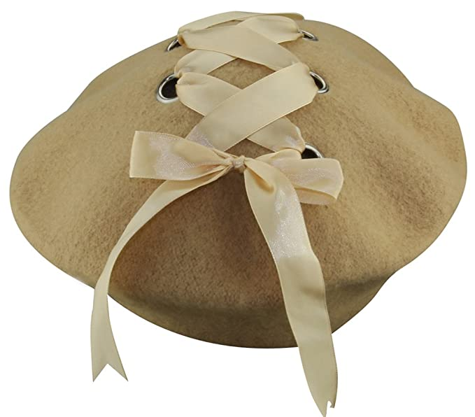 936c7959a456d MINAKOLIFE Womens French Artist Solid 100% Wool Beret Hats with Rivets  Ribbon (Beige)