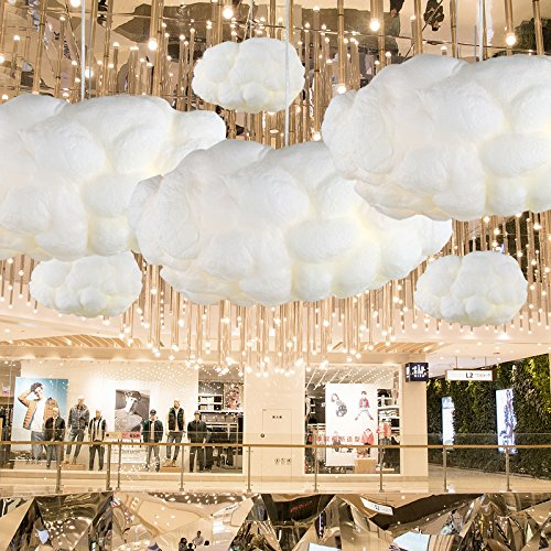 Injuicy Lighting Modern Led Pendant Lights Fixture Ceiling Hanging Lamps Shades Cotton Cloud Chandeliers for Girls Children's Rooms Living Room Bedrooms Decoration Gift (Dia. 19.69 inch White Light) Cloud Fixture