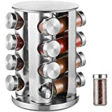 DEFWAY Revolving Spice Rack Organizer - Stainless Steel Spice Tower with 16 Glass Jars, Rotating Standing Cabinet…