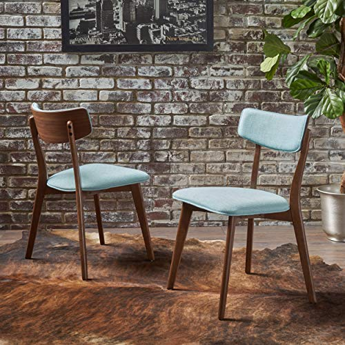 Christopher Knight Home Crystal Mid Century Natural Walnut Finished Mint Fabric Dining Chairs Set of 2 , Brown
