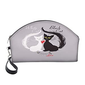 Half Moon Cosmetic Beauty Bag,Pair of Cats in Love Having Eaten Fish Red Heart Romantic Black and White Kitties for Women & Girls School Travel Office