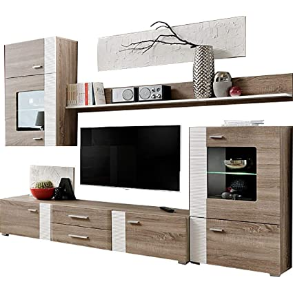 Amazon Com Domadeco Akron Truffle Oak Living Room Wall