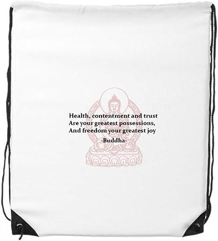 Diythinker Gesundheit Zufriedenheit Vertrauen Buddha Zitat Kordelzug Rucksack Sporttaschen Einkaufstasche Geschenk Amazon De Sport Freizeit