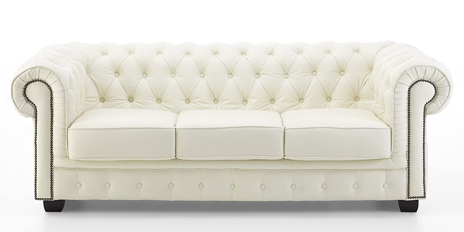 Echt Leder Sofa Chesterfield 3-Sitzer creme Couch Exclusive