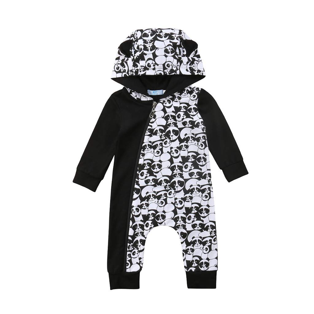 US Toddler Baby Boy Girl Cartoon Panda Print Romper Jumpsuit Overall Outfits Set