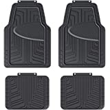 AmazonBasics 4-Piece All-Season Odorless Rubber Floor Mat for Cars, SUVs and Trucks, Black