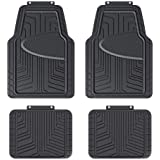 Amazon Basics 4-Piece All-Season Odorless Rubber Floor Mat for Cars, SUVs and Trucks, Black