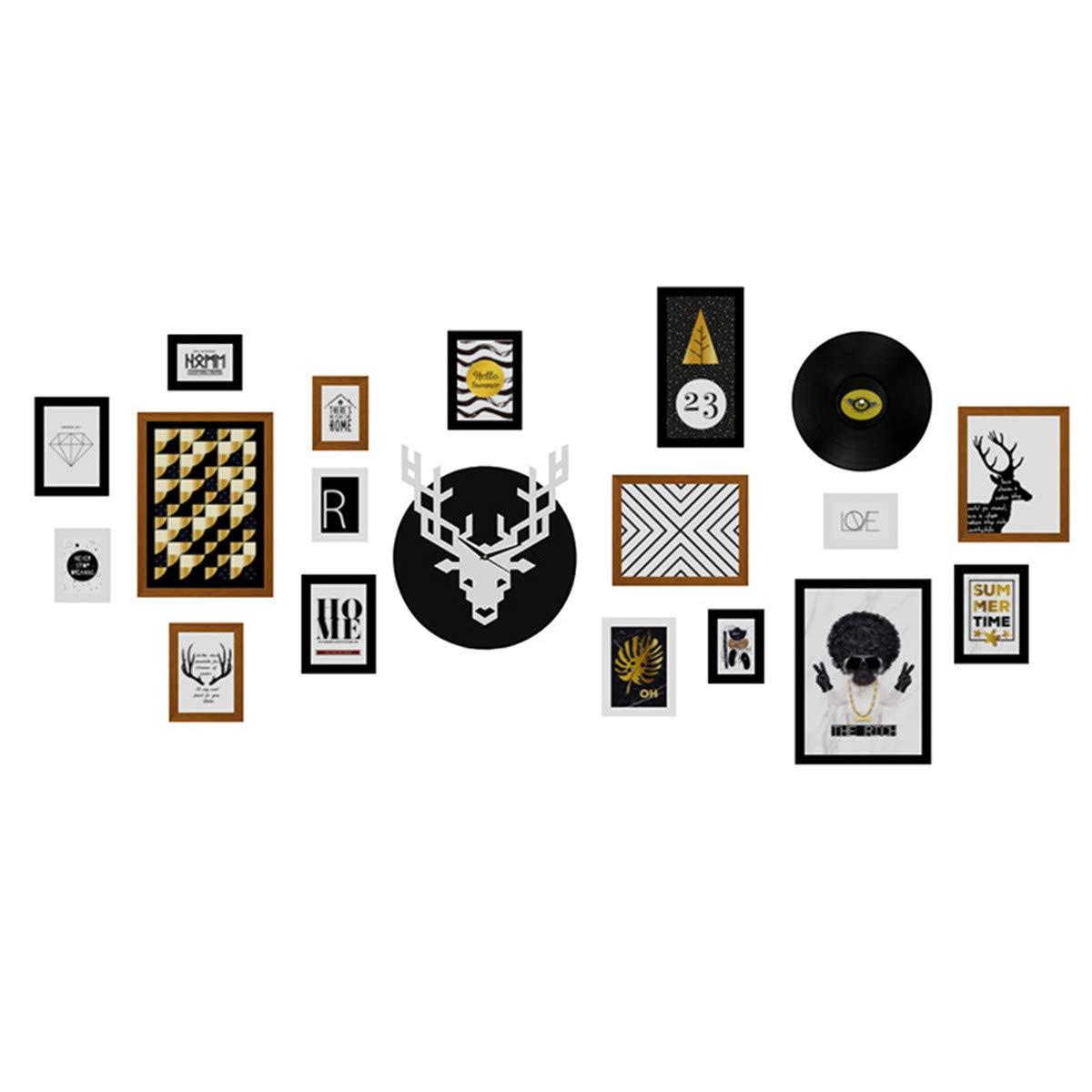 Tierkreishundefotowanduhr kombinierte Bilderrahmenwand reiche dekorative Bilderrahmen-Fotowand, Buchhaltung für Wandbereich 216  101cm, schwarzes weißes Braun   17 Kasten + Elchuhr + Aufzeichnung (ausschließlich die Einzelteile in den Re