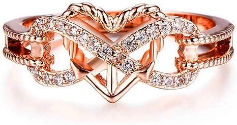 J-Z Anillos Lindos del Corazón para Las Mujeres Vintage Rose Gold Filled Cubic Zirconia Anillo Compromiso Femenino Promesa, Anillo, 8: Amazon.es: Deportes y aire libre