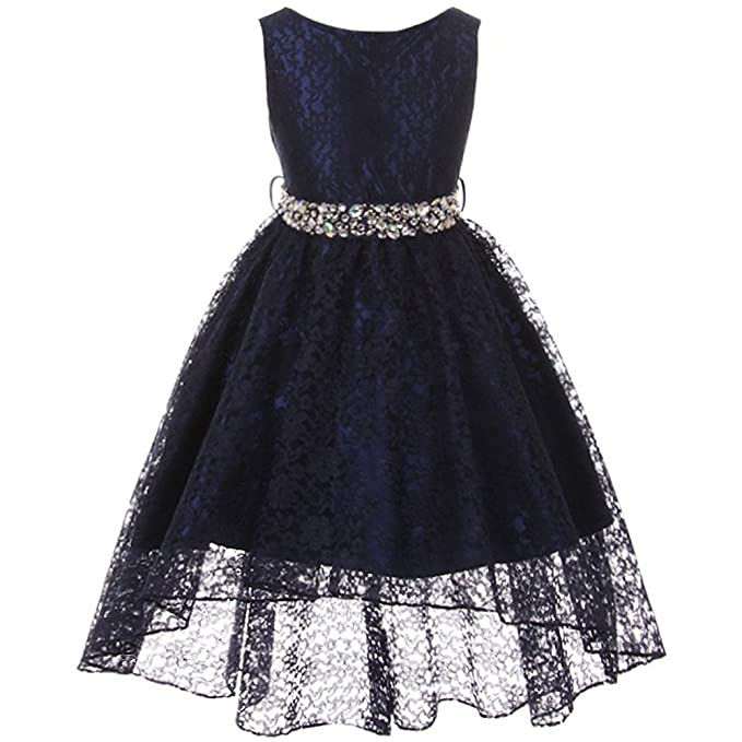 a800fbbe6ab1 Amazon.com  Sleeveless Full Lace High-Low Dress with Rhinestones ...