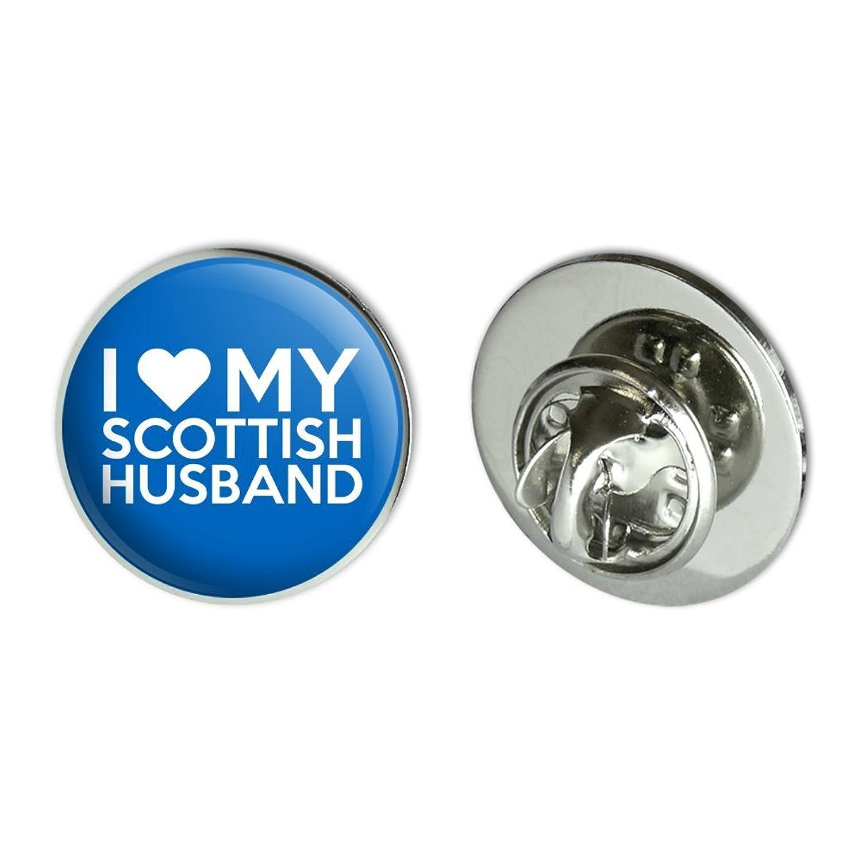 "I Love My Scottish Husband Metal 0.75"" Lapel Hat Pin Tie Tack Pinback"