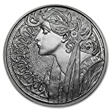 MUCHA ART: Laurel 1 oz Proof Silver Round (New w/ CoA) 6th IN SERIES
