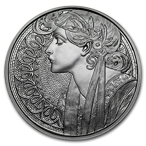 MUCHA ART: Laurel 1 oz Proof Silver Round (New w/ CoA) 6th IN SERIES by Anonymous Mint