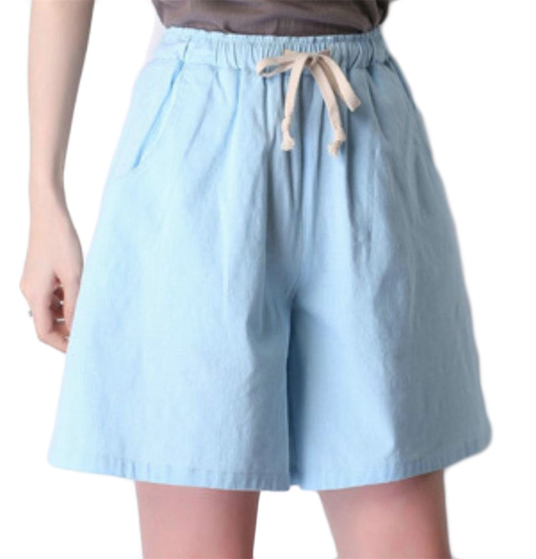 Pandapang Women's Drawstring High Waist Walking Workout Linen Wide-Leg Shorts