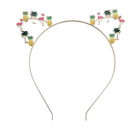 BESTOYARD Diadema Orejas de gato Aro para el pelo Banda para el cabello hawaiano Fiesta de