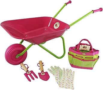 Carretilla rosa para niños con set de iniciación para el jardín: Amazon.es: Juguetes y juegos