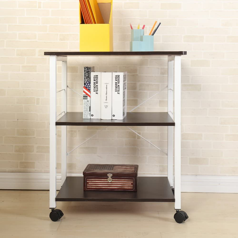 SogesHome 4-Tier Kitchen Bakers Rack Microwave Oven Stand Cart Storage Workstation Shelf,Black W4-BK-SH