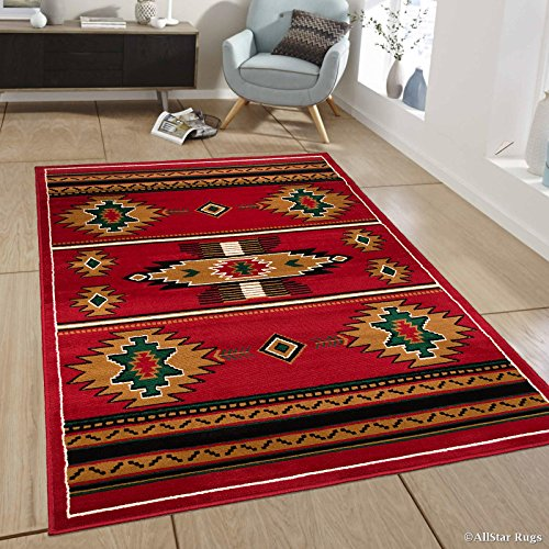 Espresso Rug - Allstar 8x11 Red and Mocha Southwestern Rectangular Accent Rug with Ivory, Espresso and Hunter Green Aztec Design (7' 6