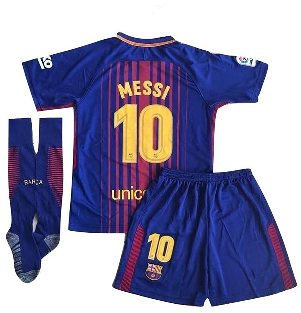 Amazon.com  10 Messi Barcelona Home Kids Youth Soccer Jersey   Shorts    Socks Set 2017-2018 Season Red Blue  Clothing 3947ff981