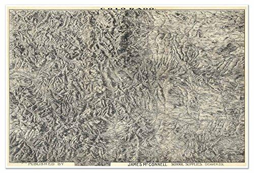 MAP of COLORADO Rocky Mountains circa 1894 - measures 36