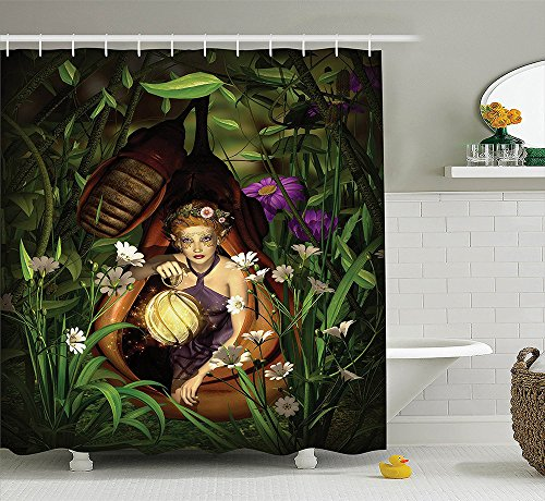 Teen Girls Decor Collection A Female Elf Sitting with a Lantern in a Cocoon Mysterious Greenery Night Image Polyester Fabric Bathroom Shower Curtain Set Green (Ebay Elf Costume)