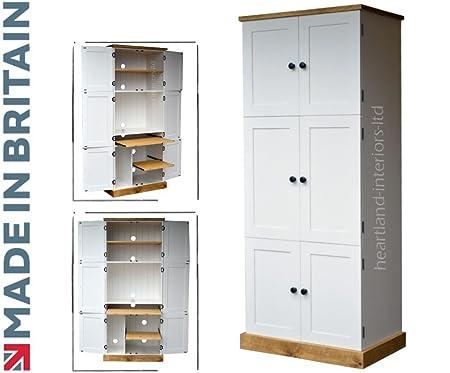 Heartland Pine 100 Solid Wood Computer Cupboard Large 6 Door White