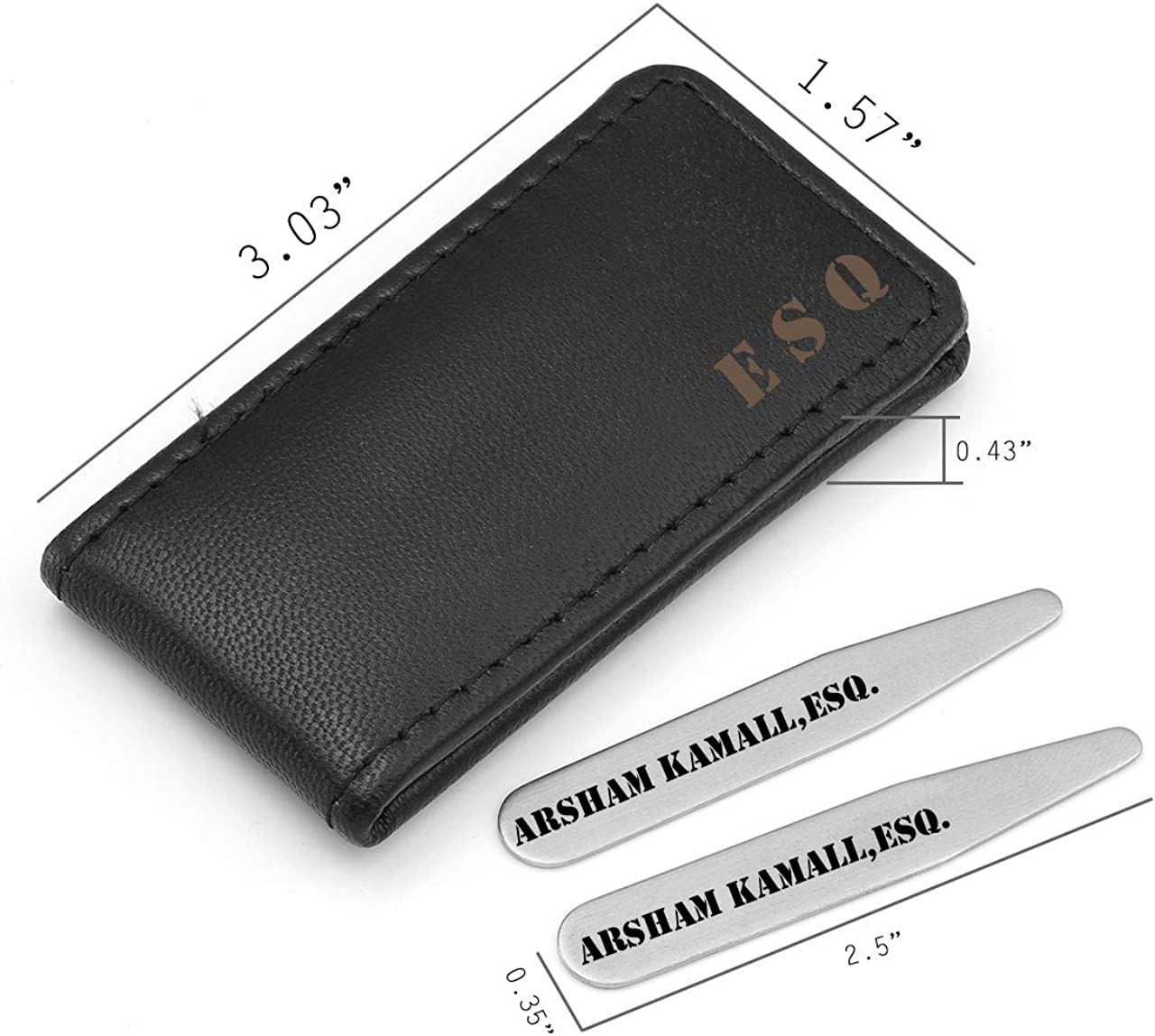 2.2 2.5 2.75 3 Personalized Master Free Engraving Custom Engraved Stainless Steel Collar Stays Travel Set for Men Dress Shirt Stiffeners in Genuine Leather Case Holder Wallet