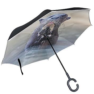 ALAZA Giant River Otter naturaleza fauna agua Animal puede paraguas paraguas plegable de doble capa resistente