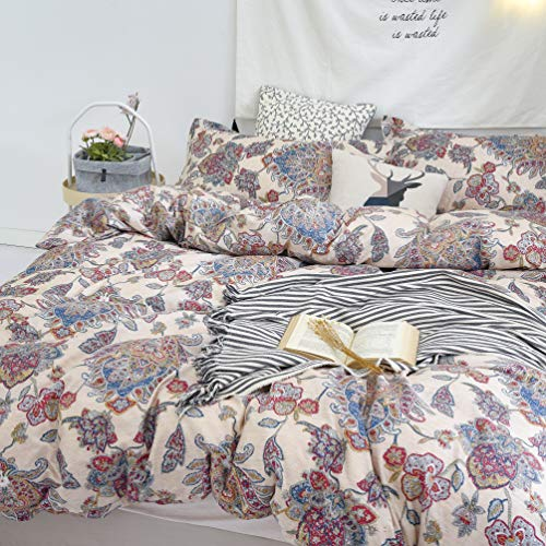 Paisley Duvet Cover Set Queen Bedding Boho Chic Mandala Pattern Printed Comforter Covers Moroccan Quilt Cover Lightweight and Soft 3 Piece 1 Duvet Cover+2 Pillow Shams Red Cream Zipper Ties (Moroccan Style Duvet)