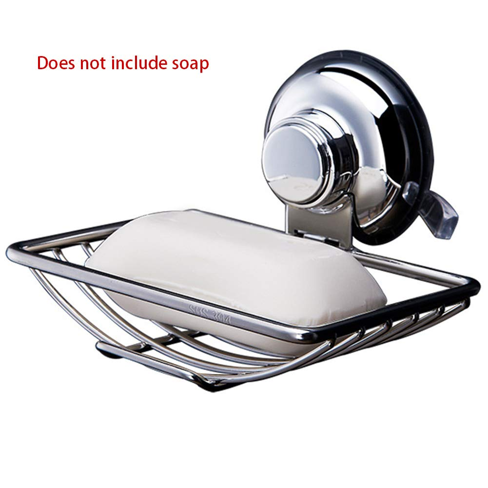 YOEDAF Soap Dish Holder, 304 Stainless Steel Rustproof Wall Mounted Shower Sponge Holder Shelf No Drilling with Suction Cup for Bathroom Kitchen