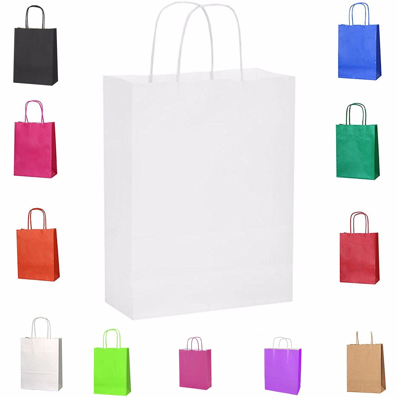 Rosa Medium 20/bolsas de papel kraft con asas trenzadas e ideales para utilizar en fiestas o para hacer regalos