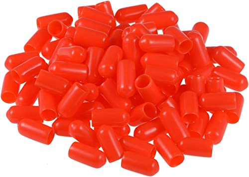uxcell Screw Thread Protectors 4.5mm ID Round End Cap Cover Red Flexible Tube Caps Tubing Tip 100pcs