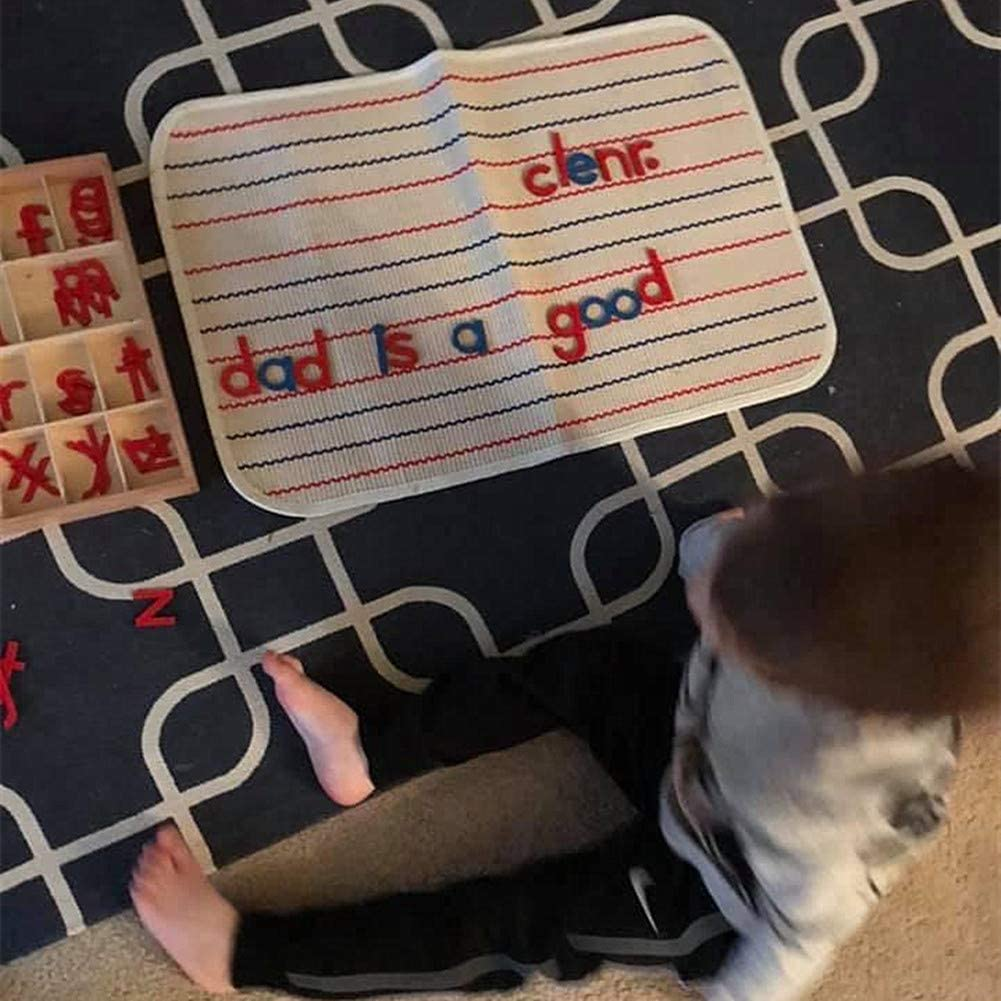 Montessori Mat Holder for Toddlers Babies Children Cotton Working Rug for Nursery Preschool Kindergarten 23.6/×15.8 Orange