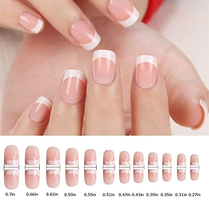 Natural francés Nails, 240 uñas postizas en 12 estilos distintos false nails (Rosa),Uñas Postizas Impress para DIY Manicura, Halloween, Navidad: Amazon.es: ...