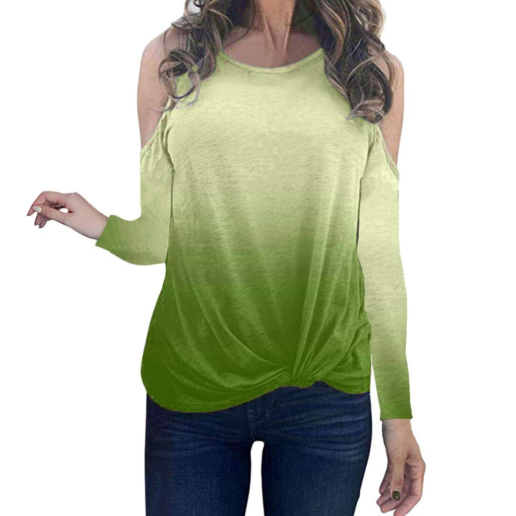 Oldlover✚Gradient Long Sleeve Round Neck Sweatshirt Casual Knotted Tops Blouses Fashion Cold Shoulder T-Shirts Pullovers Green by Oldlover-Women
