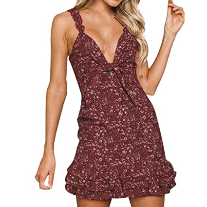 IZZB Mode Damen Sommer Partykleid Blume Druckschlinge Urlaub Mini Freizeitkleid Abendkleid Cocktailkleid Kleider