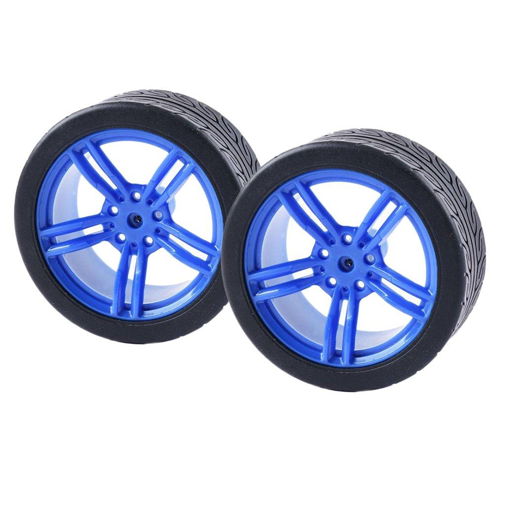 Sharplace 2X Ruedas de Neumático de Goma de Coche para Ruedas de Robot Accesorios de Motor de TT - # 2: Amazon.es: Juguetes y juegos