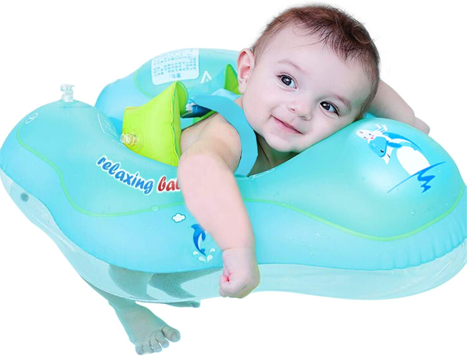 【Upgrade】Baby Swimming Float Ring - Baby Spring Floats Swim Trainer Newborn Baby Kid Toddler Age 3-10 Month (11 - 22lbs) Summer Outdoor Beach Water Bath Toy Swimming Pool Accessories 61F-xAFz0OL