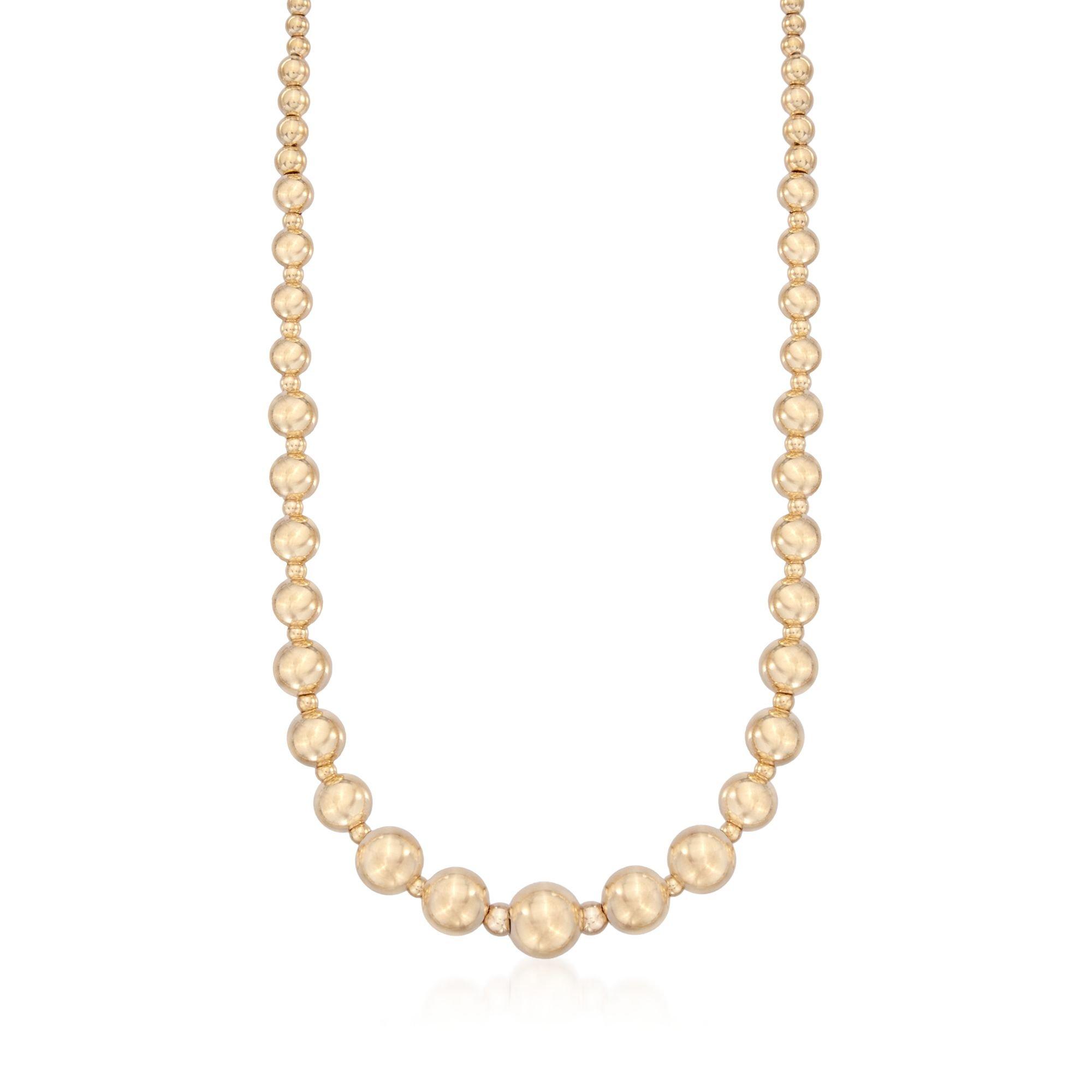 Ross-Simons Italian 14kt Yellow Gold Graduated Bead Necklace