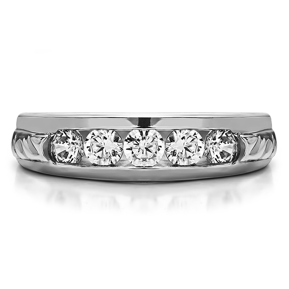 Size 3 to 15 in 1//4 Size Intervals 0.45Ct Sterling Silver Mens Wedding Ring Charles Colvard Moissanite