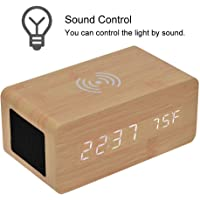 LED Mirror Clock, Qi Wireless Charging Sound Control LED Digital Alarm Clock Bluetooth Speaker with Temperature Function for Office Bedroom (Bamboo Grain White Light)