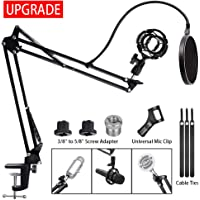Upgrade Adjustable Microphone Stand,RINBO Mic Stand Kit with Shock Mount,Enhanced Table Mounting Clamp,Sound Shield Guard,Mic Clip, 3/8'' to 5/8'' Screw Adapter,for Blue Yeti,Snowball and Other Mics
