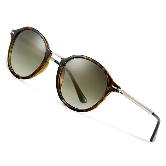 Elegear Gafas de Sol Mujer 2019 Retro Gafas Mujer Grandes Vintage Redondas 100% Protección UV400 UVA Gafas Verano Ultraligero Cómodo-Gafas Gris Marrón ...