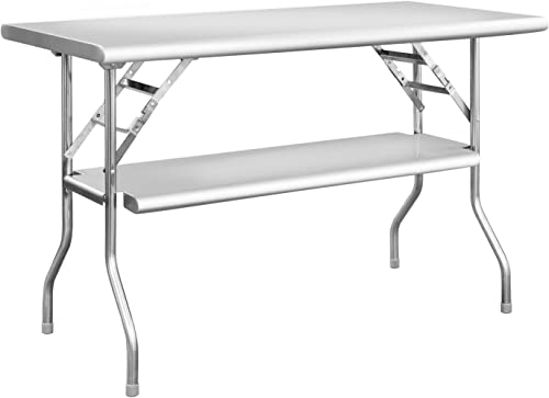 Royal Gourmet Commercial Stainless Steel Double-Shelf Folding Work Table