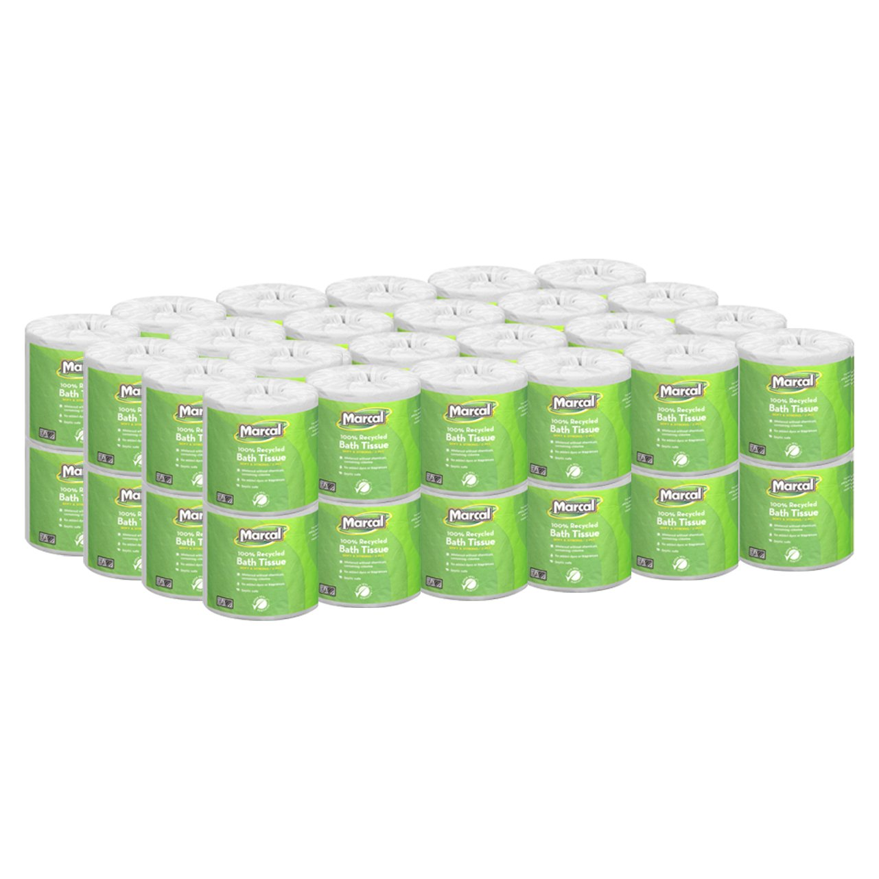 Marcal 6495 White Small Steps 100% Premium Recycled 2-Ply Bath Tissue Roll 504 Sheets (Case of 48) MRC6495 171275